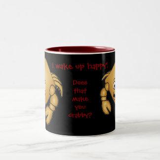 Cartoon Crab mug. I wake up happy! Two-Tone Coffee Mug