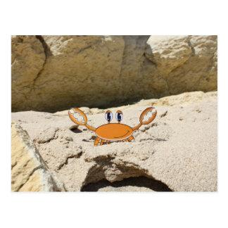 Cartoon  Crab on the Beach Postcard