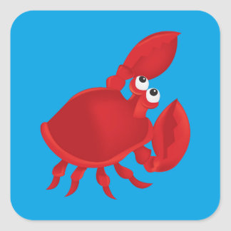 Cartoon crab square sticker