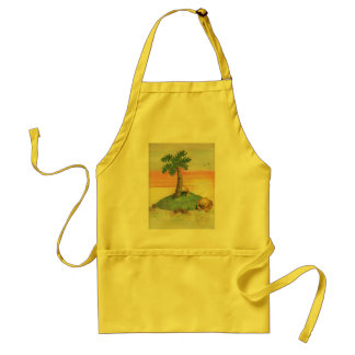 cartoon crabs on island with palm tree at sunset adult apron