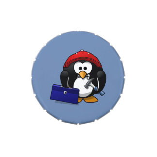 Cartoon Craftsman Penguin with Blue Background Candy Tins