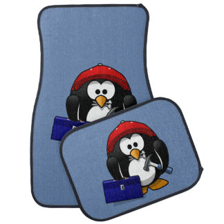 Cartoon Craftsman Penguin with Blue Background Car Mat