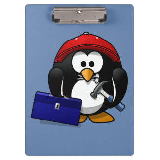Cartoon Craftsman Penguin with Blue Background Clipboard