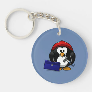 Cartoon Craftsman Penguin with Blue Background Double-Sided Round Acrylic Keychain