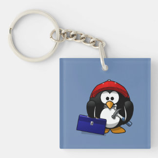 Cartoon Craftsman Penguin with Blue Background Double-Sided Square Acrylic Keychain