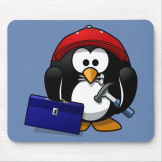 Cartoon Craftsman Penguin with Blue Background Mouse Pad