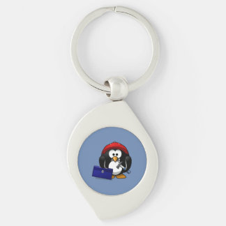 Cartoon Craftsman Penguin with Blue Background Silver-Colored Swirl Metal Keychain