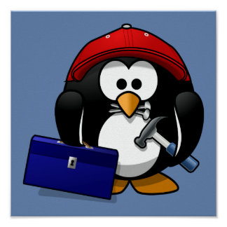 Cartoon Craftsman Penguin with Blue Background Poster