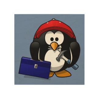 Cartoon Craftsman Penguin with Blue Background Wood Print