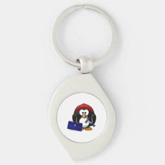 Cartoon Crafty Penguin Silver-Colored Swirl Metal Keychain