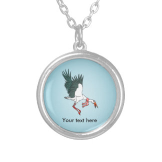 Cartoon Crane Flying Funny Illustration Silver Plated Necklace