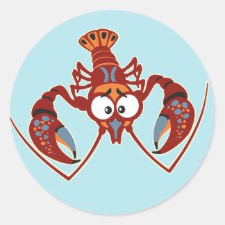 cartoon crayfish classic round sticker