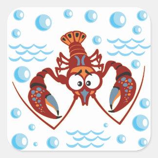 cartoon crayfish square sticker