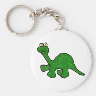 Cartoon Crayon Brontosaurus Collection Basic Round Button Keychain
