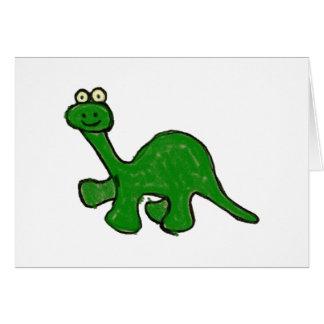 Cartoon Crayon Brontosaurus Collection Greeting Cards