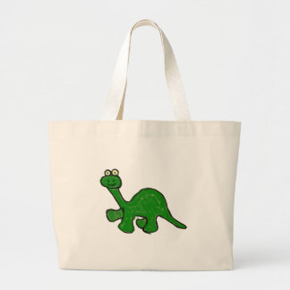 Cartoon Crayon Brontosaurus Collection Large Tote Bag