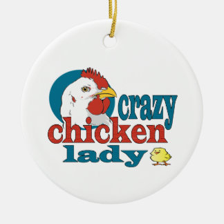 Cartoon Crazy Chicken Lady Ceramic Ornament