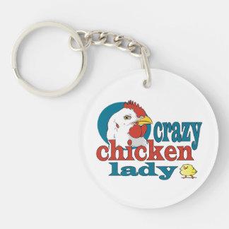 Cartoon Crazy Chicken Lady Key Chain