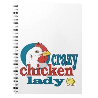Cartoon Crazy Chicken Lady Spiral Notebook