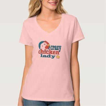 RedneckHillbillies Cartoon Crazy Chicken Lady T-Shirt