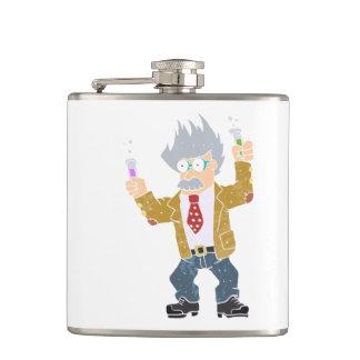 Cartoon crazy scientist. flask