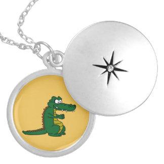 Cartoon croc round locket necklace