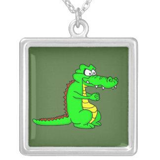 Cartoon croc square pendant necklace