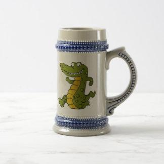 Cartoon crocodile. beer stein