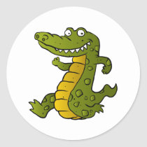 Cartoon crocodile. classic round sticker