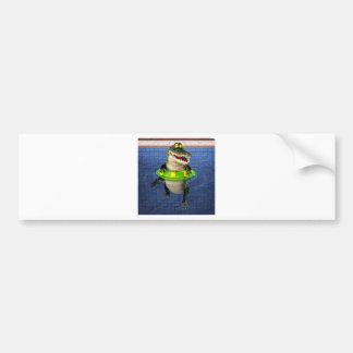 Cartoon Crocodile in The Deep End Bumper Sticker