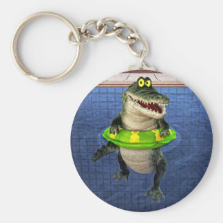 Cartoon Crocodile in The Deep End Basic Round Button Keychain