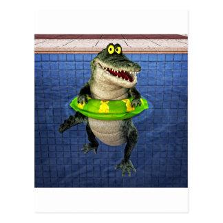 Cartoon Crocodile in The Deep End Postcard