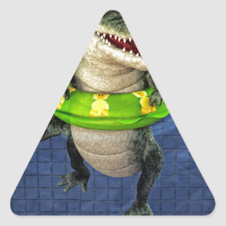 Cartoon Crocodile in The Deep End Triangle Sticker