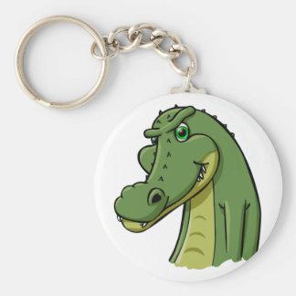 Cartoon Crocodile Basic Round Button Keychain
