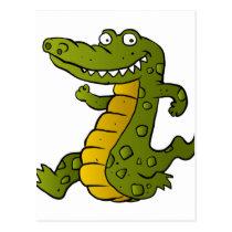 Cartoon crocodile. postcard