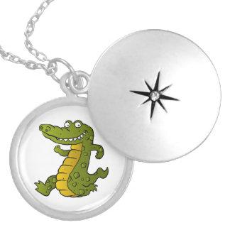 Cartoon crocodile. round locket necklace
