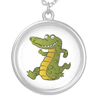 Cartoon crocodile. round pendant necklace