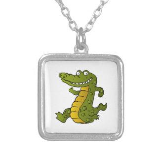 Cartoon crocodile. square pendant necklace