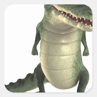 Cartoon Crocodile Square Sticker