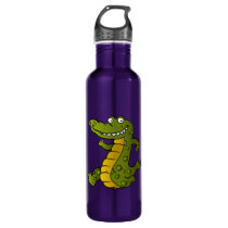 Cartoon crocodile. water bottle
