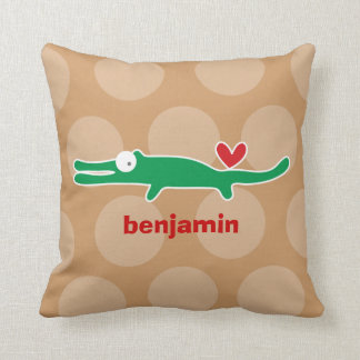 Cartoon Cute Alligator Love Whimsical Kids Cushion