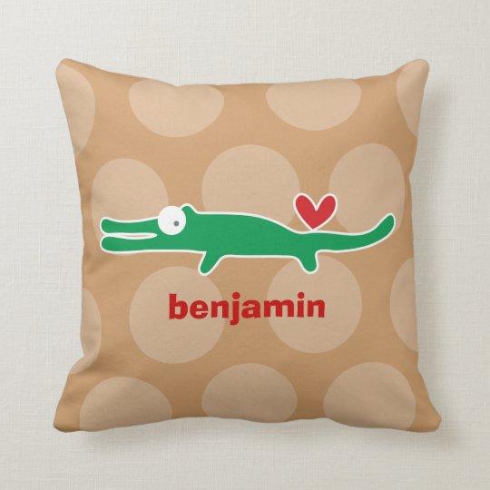 Cartoon Cute Alligator Love Whimsical Kids Cushion