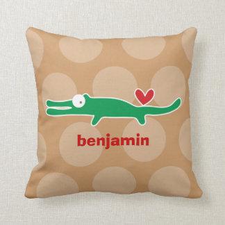 Cartoon Cute Alligator Love Whimsical Kids Cushion Throw Pillow