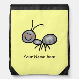 cartoon cute ant - just add name drawstring bag