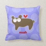 Cartoon Cute Bear Love Whimsical Kids Cushion Throw Pillow