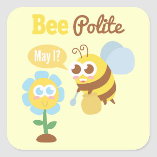 Cartoon: Cute bee collecting nectar from flower Square Sticker