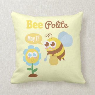 Cartoon: Cute bee collecting nectar from flower Throw Pillow