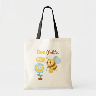 Cartoon: Cute bee collecting nectar from flower Tote Bag