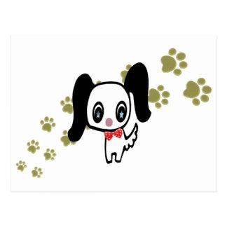 Cartoon cute dog and paws art postcard