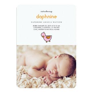 Cartoon Cute Duckies Girl Photo Birth Announcement